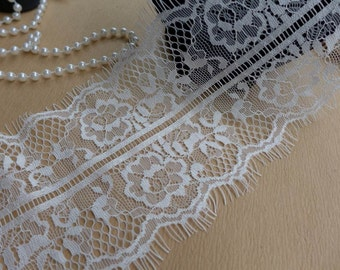 "4.72"" White Chantilly Lace, Eyelash Floral Fabric Lace, Wedding Bridal Veils Lace, Lingerie Lace, 3 Yards"