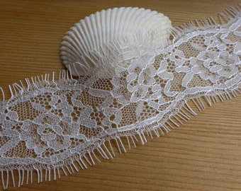 Chantilly Lace Trim in White for Mantilla, Shawl, Wedding Garter, Bridal, Cakes, Jewelry Lace