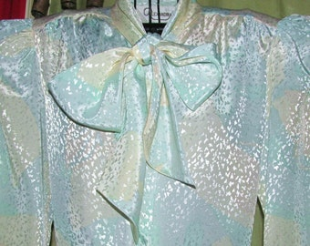 70's/Neck/BOW/TIE/Classic/BLOUSE/ Vintage/Silky/Shiny/Pastel/Watercolor/ Blue/Pink/Yellow/Silver/Speckled/ Office/Woman/Fashion/Clothing