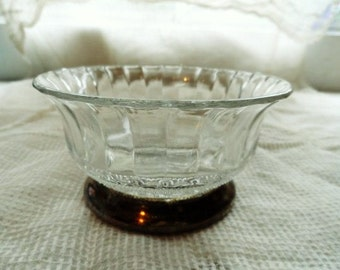 CRYSTAL & SILVER PLATE Pedestal Bowl-Dish- In Original Box- Lovely Crystal Decorative Bowl- Lovely Shabby Dish-New Old Stock