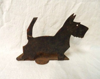 SCOTTISH TERRIER Dog Book End-Old Metal Cut Out Scottie- Terrier- Single Bookend- Rusted Treasure- Great Rusty Patina-Scotty Dog