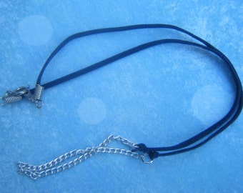 Dark Blue Suede Cord and Chain Necklace