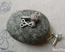 Hair Dryer And Scissors Antique Silver Barber Shop Charms 10x14mm Set of 20 pcs A6529