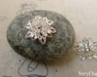 Silver Filigree Lotus Flower Bead Cap Charms 8x16mm Set of 10 pcs A6224
