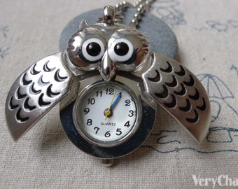1 PC Antique Silver Owl Wing Pocket Watch 25x40mm A7241