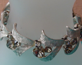 Vintage ART silvertone bracelet with smoky gray rhinestones