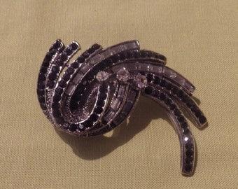 Vintage Silver Clear Crystal and Black Rhinestone Brooch