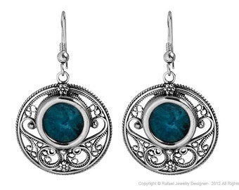New Handmade Eilat stone & 925 Sterling Silver Circular Filigree Unique Earrings