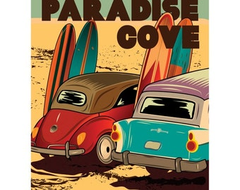Paradise Cove Surfboards and Cars Wall Decal #48292