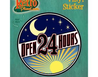 Diner Open 24 Hours Vinyl Sticker - #40888