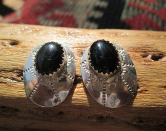 Native American Onyx and Sterling Silver Earrings