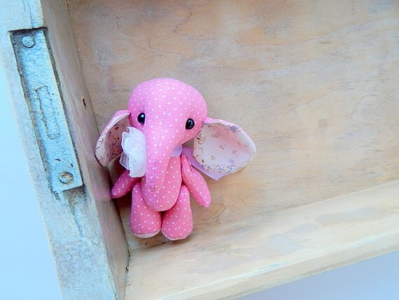 Pink Elephant Cloth Art Toy Fabric Home Decor Teddy Toy