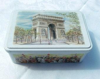 French vintage tin box , Paris TRIUMPHAL ARCH decor,Paris souvenir, French monument