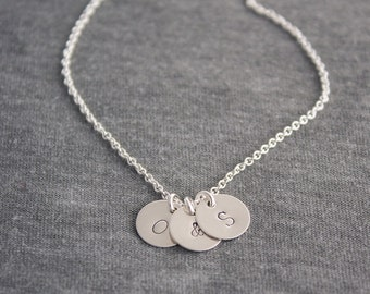Personalized Initial Charm Sterling Silver Necklace