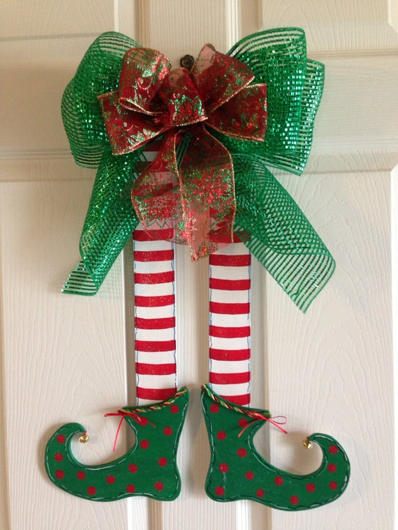 Christmas Door Hanger Christmas Elves Elf Legs Wall Decor