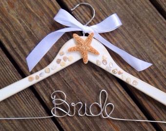 Beach Bridal Hanger, Beach Bride Hanger with Starfish, Name Hanger, Wedding Hanger, Personalized Bridal hanger, Bridal Gift, Bridesmaid