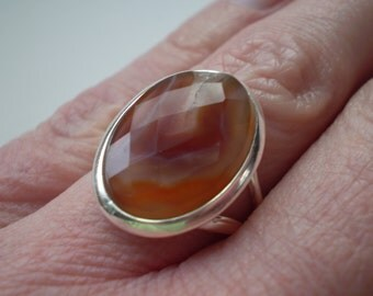 Striped Agate (Natural) 925 Sterling Silver Size 6.75 Ring