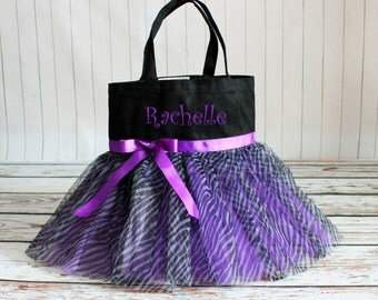 "Tutu Dance bag - Girl's Personalized Tote Bag in Black canvas colors in 13.5""x13.5"" - Great Size"