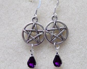 Gothic Tibetan Silver Pentagram with Purple Rhinestone Teardrop Earrings