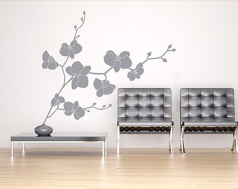 Wall decal ORCHIDS, wall stickers for living room,bedroom,kitchen decals, vinyl stickers,quality vinyl decal