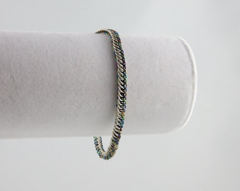 Silver and Rainbow Half Persian Chain Maille Bracelet - Sterling Silver and Niobium