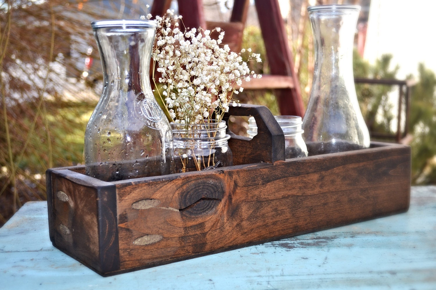 Rustic wood box centerpiece wedding by mintagedesigns