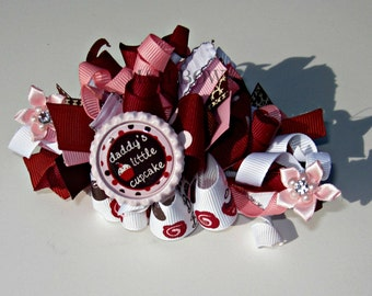 Daddy's Little Cupcake Funky Loopy Bow