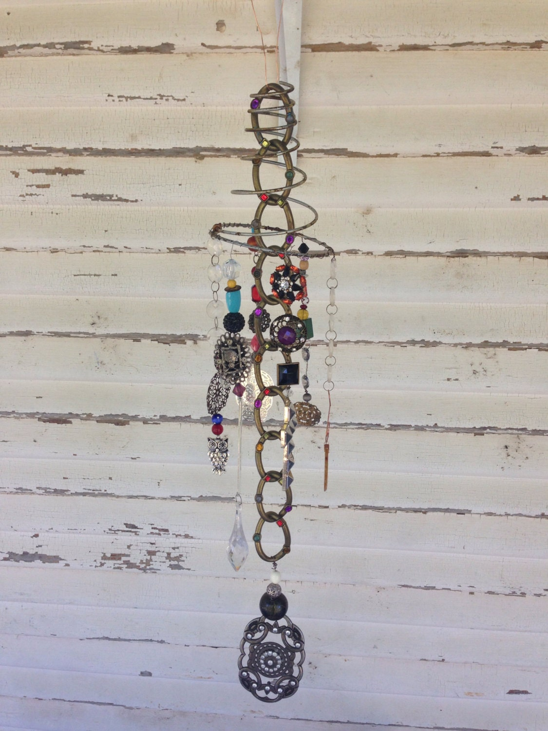 Boho recycled bedspring garden art patio decor yard art for Recycled yard decorations