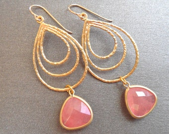 Coral Gold Earrings, Coral Hoop Dangle Earring, Large Coral Earrings