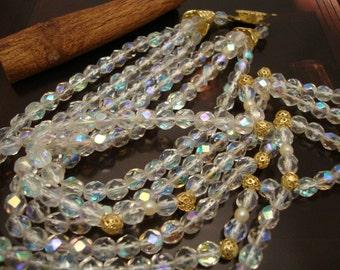 Vintage Rainbow Aurora Facet Crystal Wonderful Women Three Row Necklace