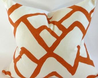Schumacher Zimba Pillow Cover in Orange