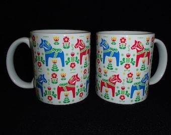 Scandinavian Swedish Dala Horse & Flowers Coffee Tea Mug #249U