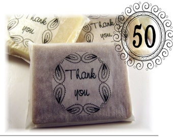 SET of  50 Handmade Soap Favors - Wedding Favors, Guest Soaps, Shower Gifts - MIX & MATCH 100% All Natural Handmade Soap