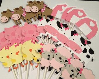 36 Girl Barnyard or Farm Themed Cupcake Toppers