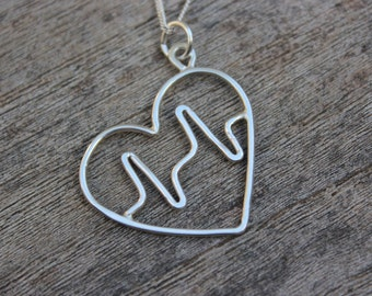 Sterling silver heartbeat pendant
