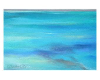 ABSTRACT OCEAN: teal, turquoise, aqua, sea blue Kauai, Hawaii beach wall art metal print of pastel painting by fine artist Donia Lilly