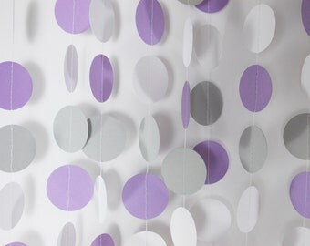 Party Paper Circle Garland Lavender Purple Gray & White Decoration Party Decor 12' Circles