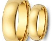 Tungsten Wedding Band,Wedding Band Set Matching,8MM/6MM Tungsten Carbide Shiny Gold Wedding Band Ring Set Classic,His,Her