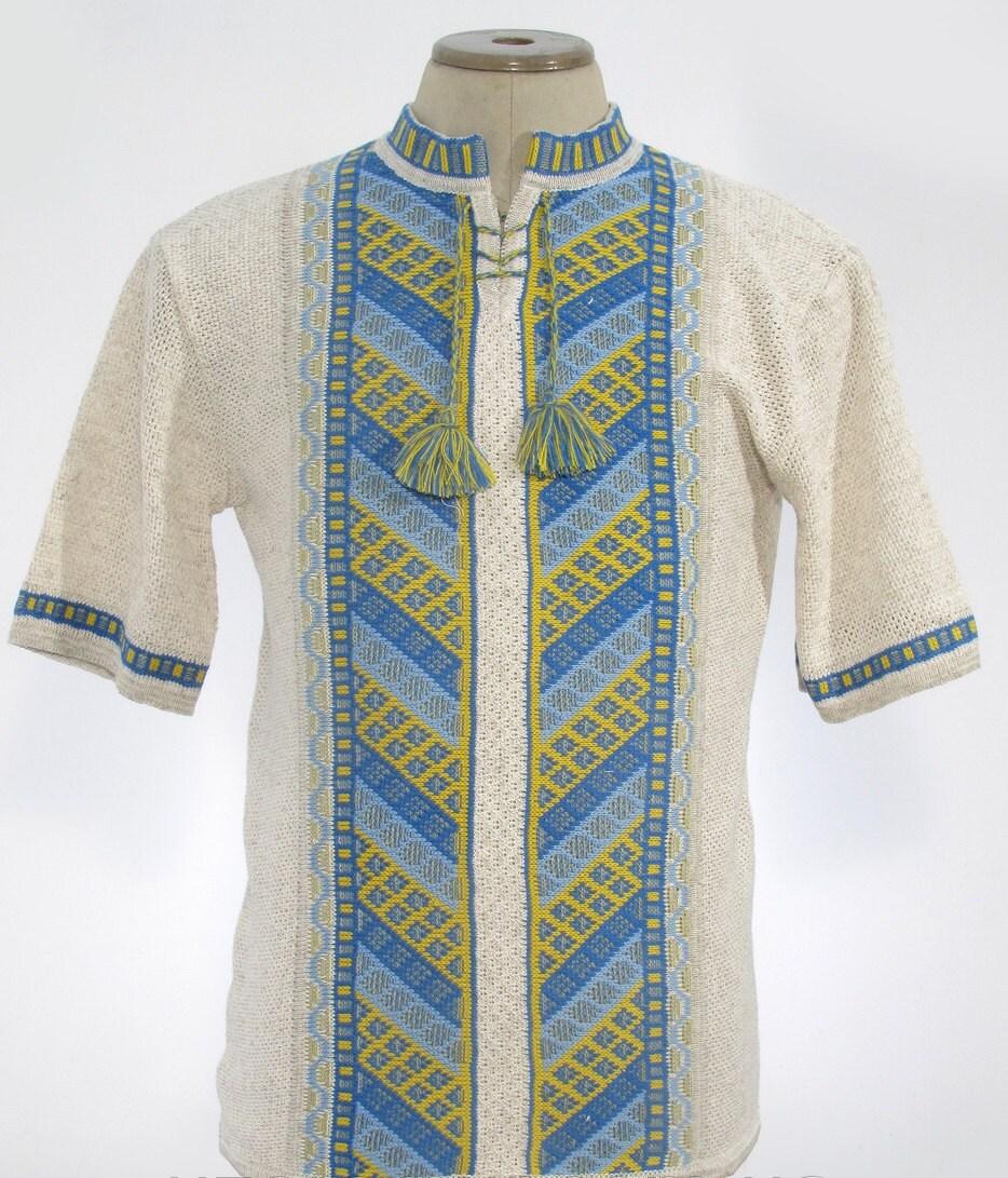 Sale linen traditional ukrainian embroidered men s