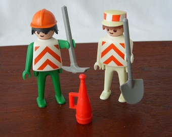 Vintage Playmobil Toy, Construction Toy, Playmobile Parts, 1974 Geobra Construction Figures, Schaper Toy, Playmobil Collectible Toys