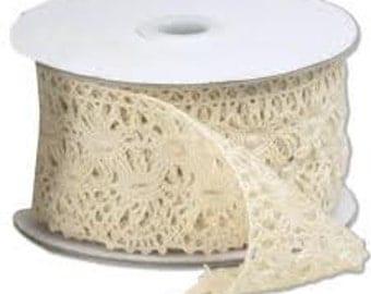 "Ivory Lace Ribbon - 2 & 1/3"" x 10 Yards (Six Pack)"