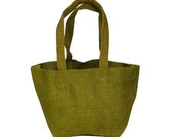 "4"" x 4"" x 4"" Moss Jute Tote Bags (6 Pack)"