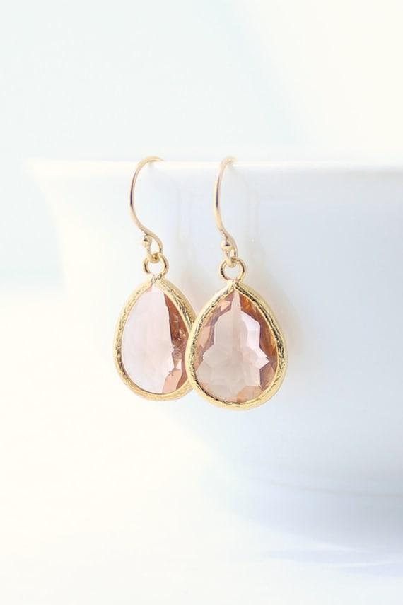 peach champagne gold teardrop earrings