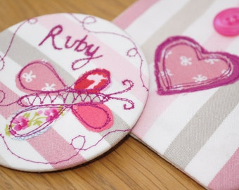 Fabric covered handbag mirror in Pouch
