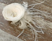 Ivory flower, bridal hair flower, lace flower,hair clip, weddings accessories,bridal hair fascinator, headpiece, pearls, rhinestones.
