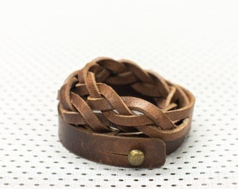 Brown braided leather wristband – ''Twist a Wrist x3'' triple armlet