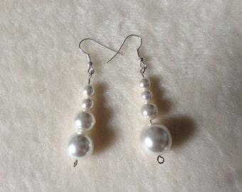 White Drop Earrings, White Bead Earrings, White Formal Earrings, White Wedding Earrings, White Prom Earrings, White Formal Jewelry