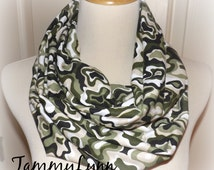 Green Camo Scarf Camouflage Fashion Infinity Scarf Hunting Duck Dynasty Women's Accessories