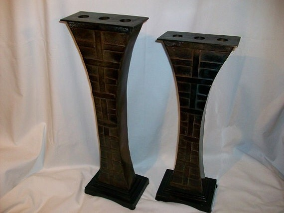 Pair Of Mid Century Moder Cubist Style Candle Stick Holders Jacobs Ladder Candelabras