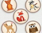 Printable Party Circles - Woodland Party - Fox - Owl - Deer - Raccoon - Bear